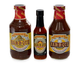 Pierces BAr-B-Que hot sauce, honey sauce, and original sauce