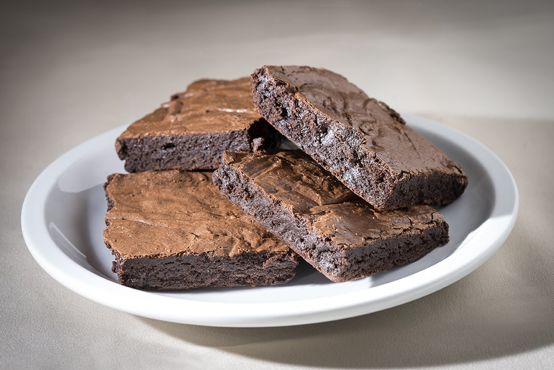 Chocolate brownies on plate