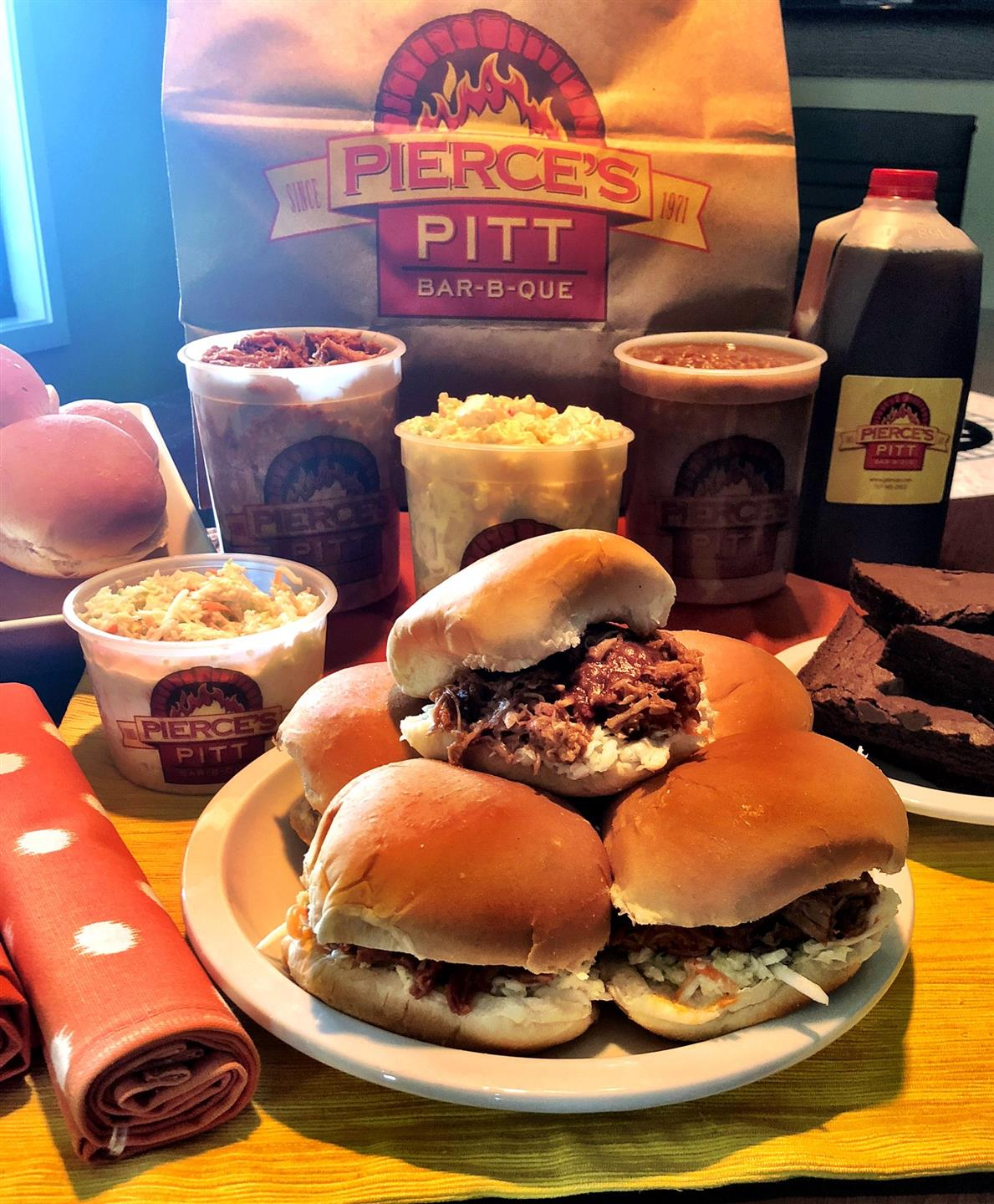 pierce's bbq burgers with mac and cheese and various sides