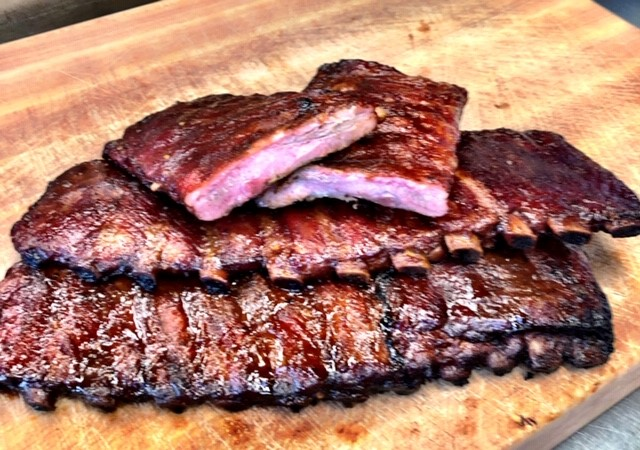 Barbecue ribs on a wood cutting board