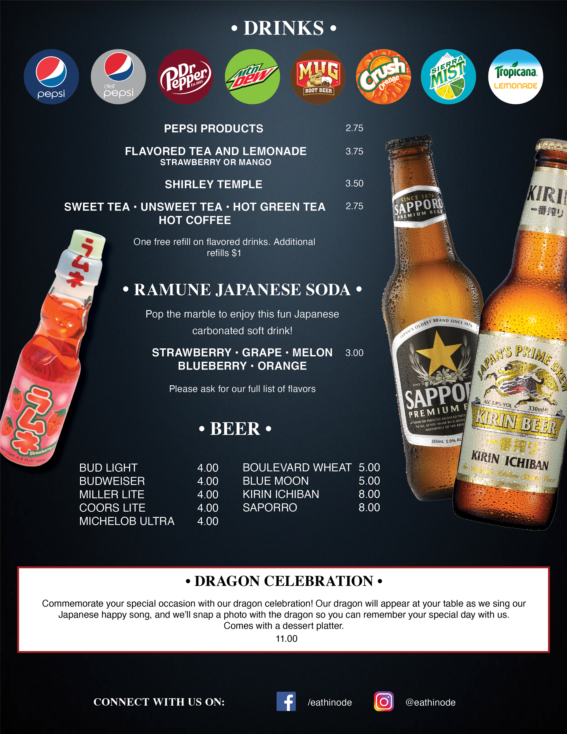 Drink Menu for Hinode Japanese Steakhouse and Sushi in Springfield