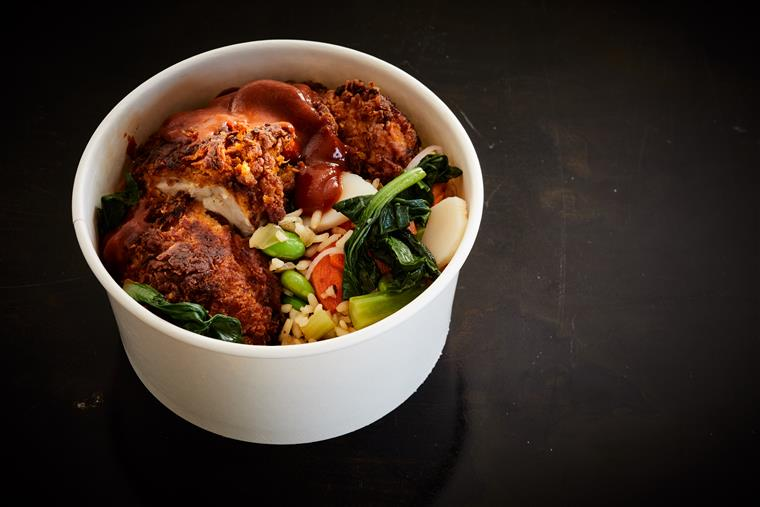 CRISPY CHICKEN bowl. Carolina Gold Rice, edamame, sticky BBQ sauce.