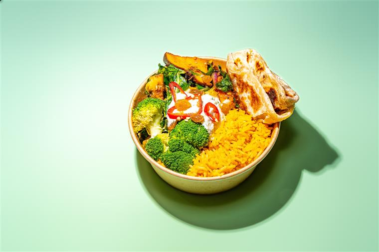 Veggie Bowl: Jollof Basmati Rice, Roasted Broccoli, Vegan Cucumber Yogurt, Nana's Bread