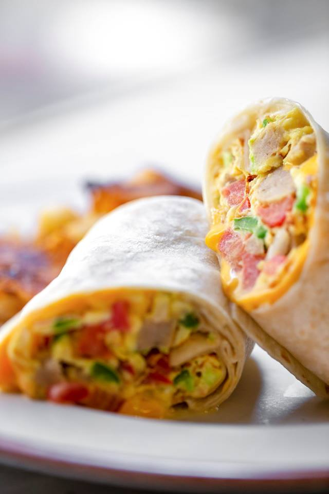 Egg and ham wrap with side of home fries