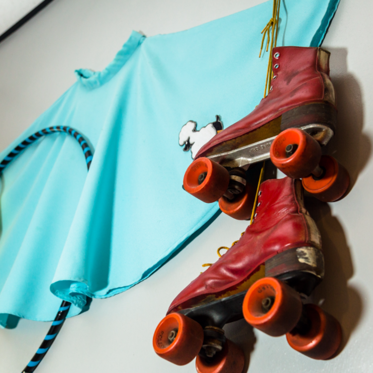 retro decorations and rollerblades