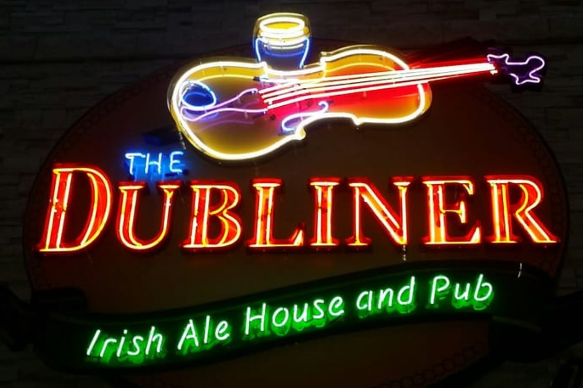 The Dubliner neon sign at night