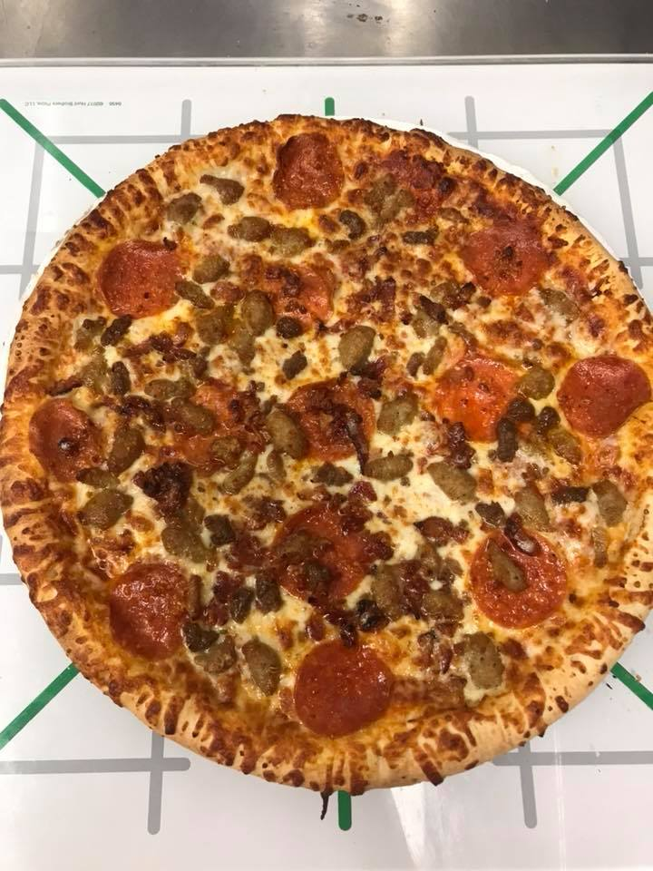 Pepperoni and meatball cheese pizza