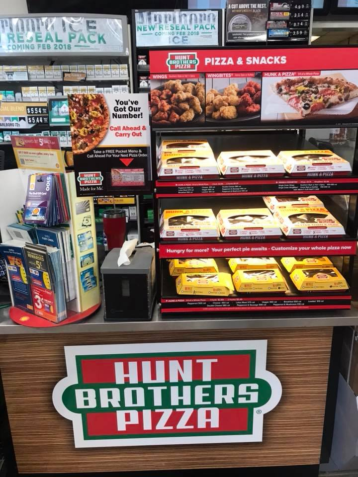 Pre-packaged pizza and snacks