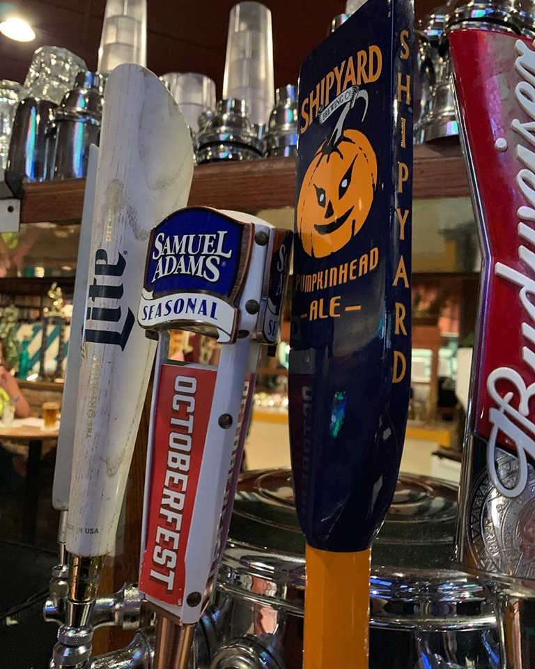 Miller lite, sam adams octoberfest, and shipyard beer taps