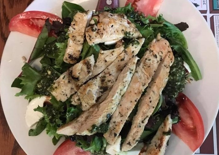 TUSCAN CHICKEN SALAD: Pan Seared Walnut Encrusted Chicken Breast over Mixed Greens with Apple slices and Gorgonzola Cheese