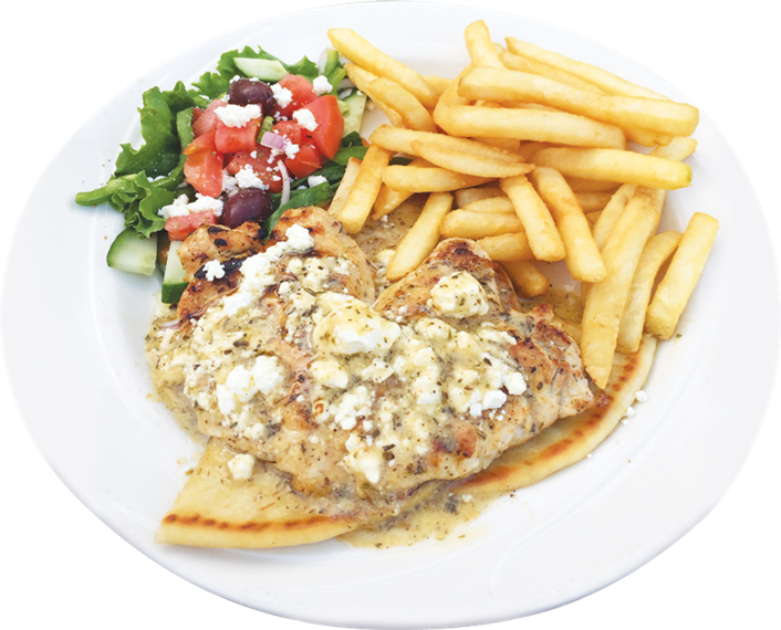 grilled chicken over pita bread topped with fetta cheese and greek dressing. Small Greek salad and french fries on the side.