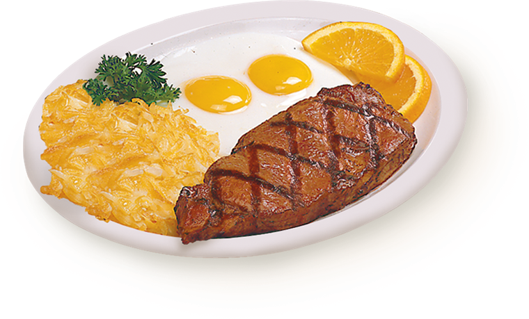 two eggs sunny-side-up with a grilled steak, hash browns and two orange slices.