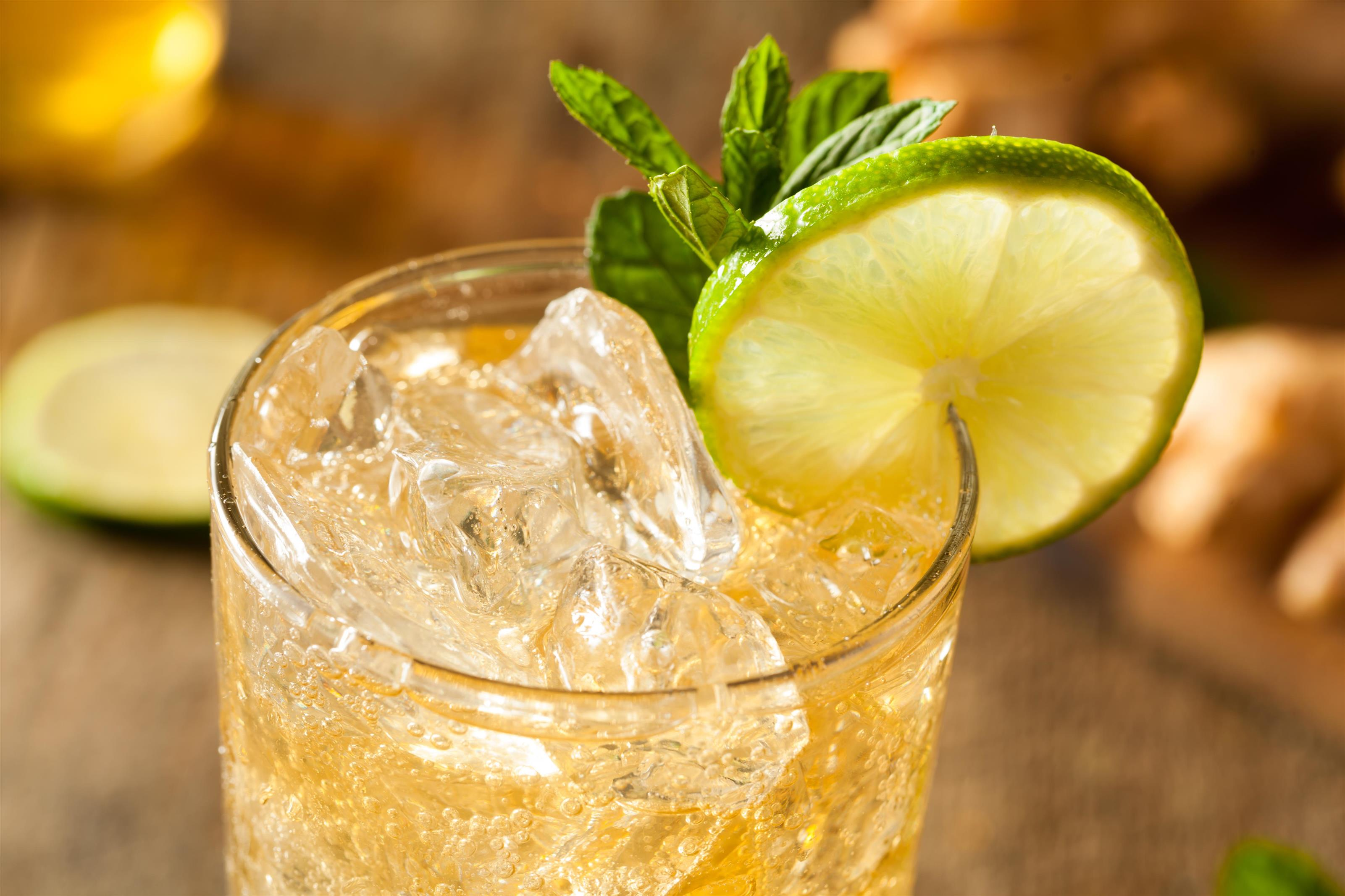 golden ginger beer with mint in a glass with a lime wedge
