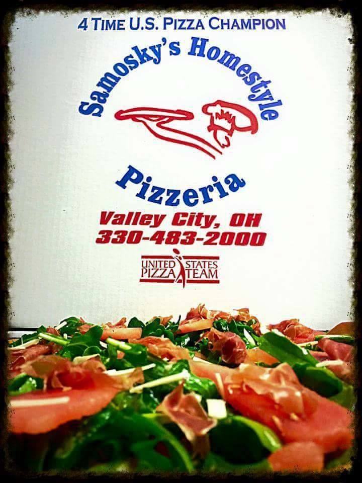an award that says 4 Time US Pizza Champion Samosky's Homestyle Pizzeria Valley City, OH 338-483-2000