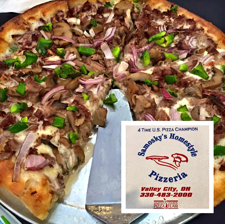 The Philly Cheese Steak pizza pie with an award that says 4 Time US Pizza Champion Samosky's Homestyle Pizzeria Valley City, OH 338-483-2000