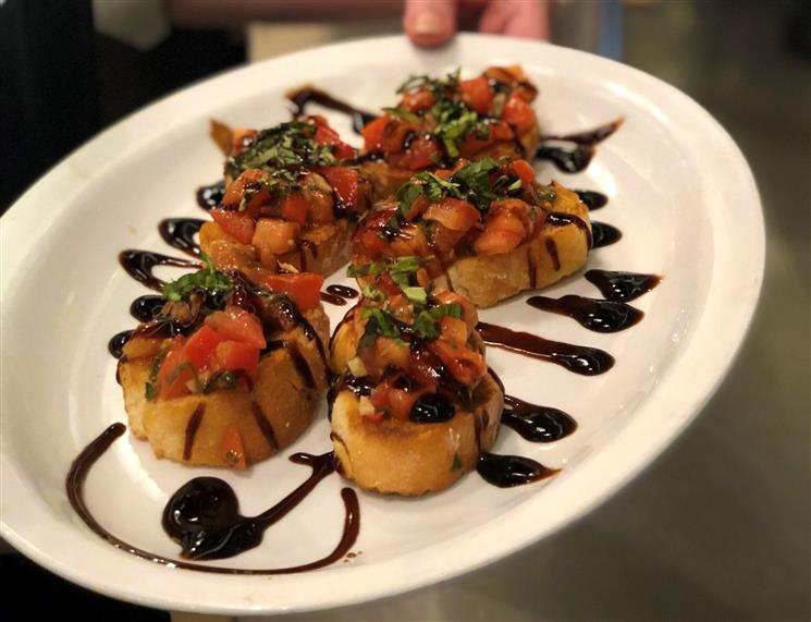 The Bruschetta appetizer on a plate