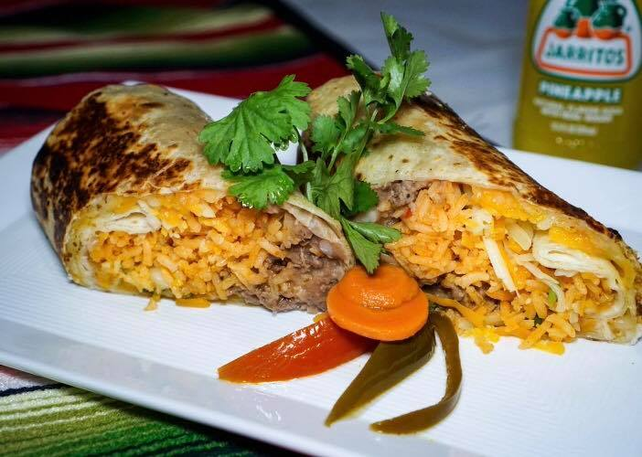 pressed burrito with rice, ground beef and cheese