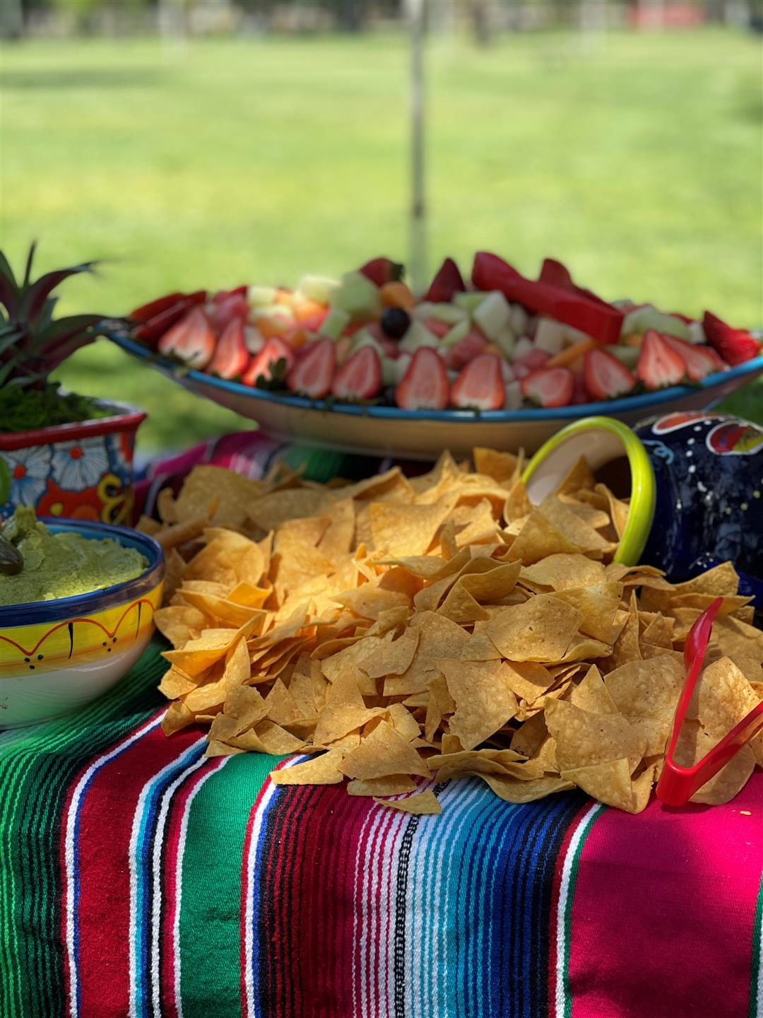 Chips and Salsa with a bowl of fruit on a table