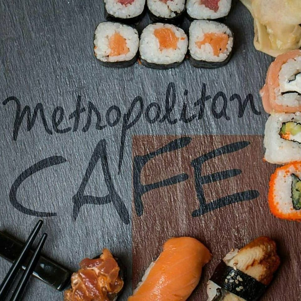 Metropolitan Cafe board with Sushi