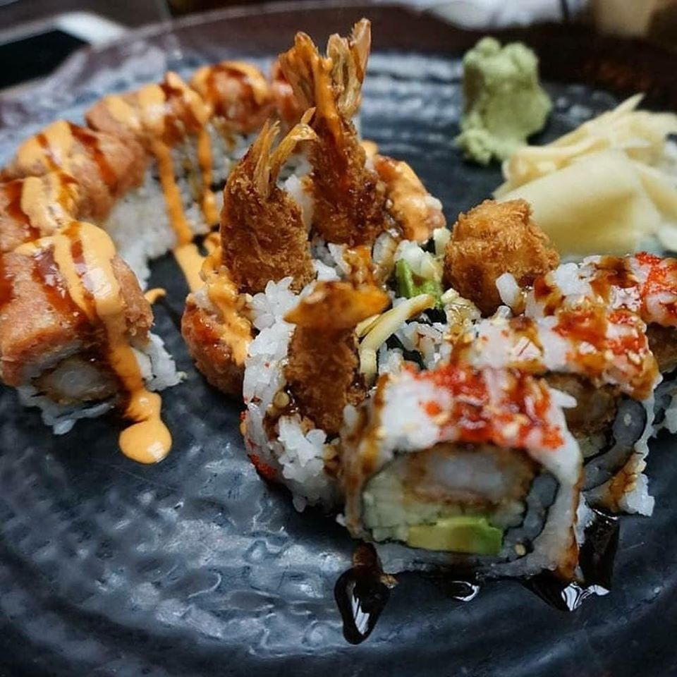 Specialty sushi rolls on plate