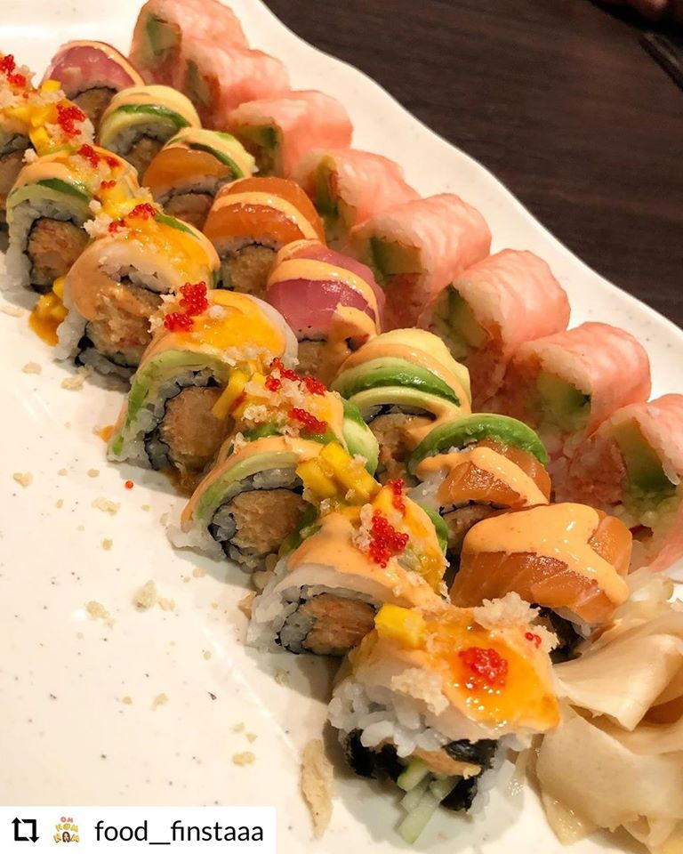 Sushi rolls on a platter