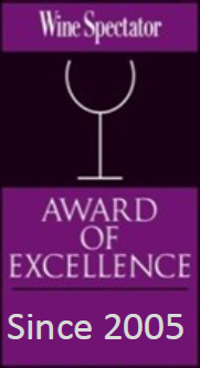 Wine spectator award of excellence since 2005