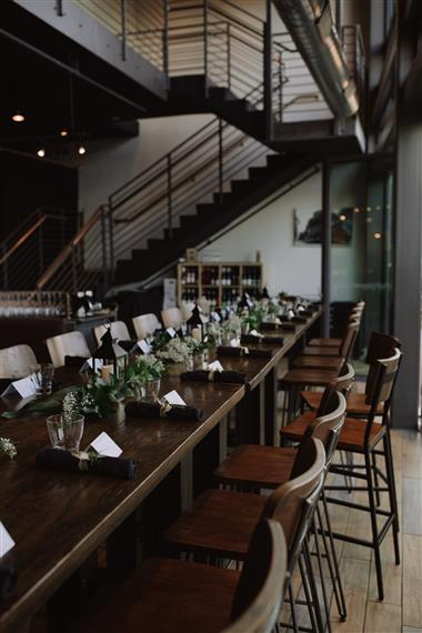 long table set up and decorated for a party event