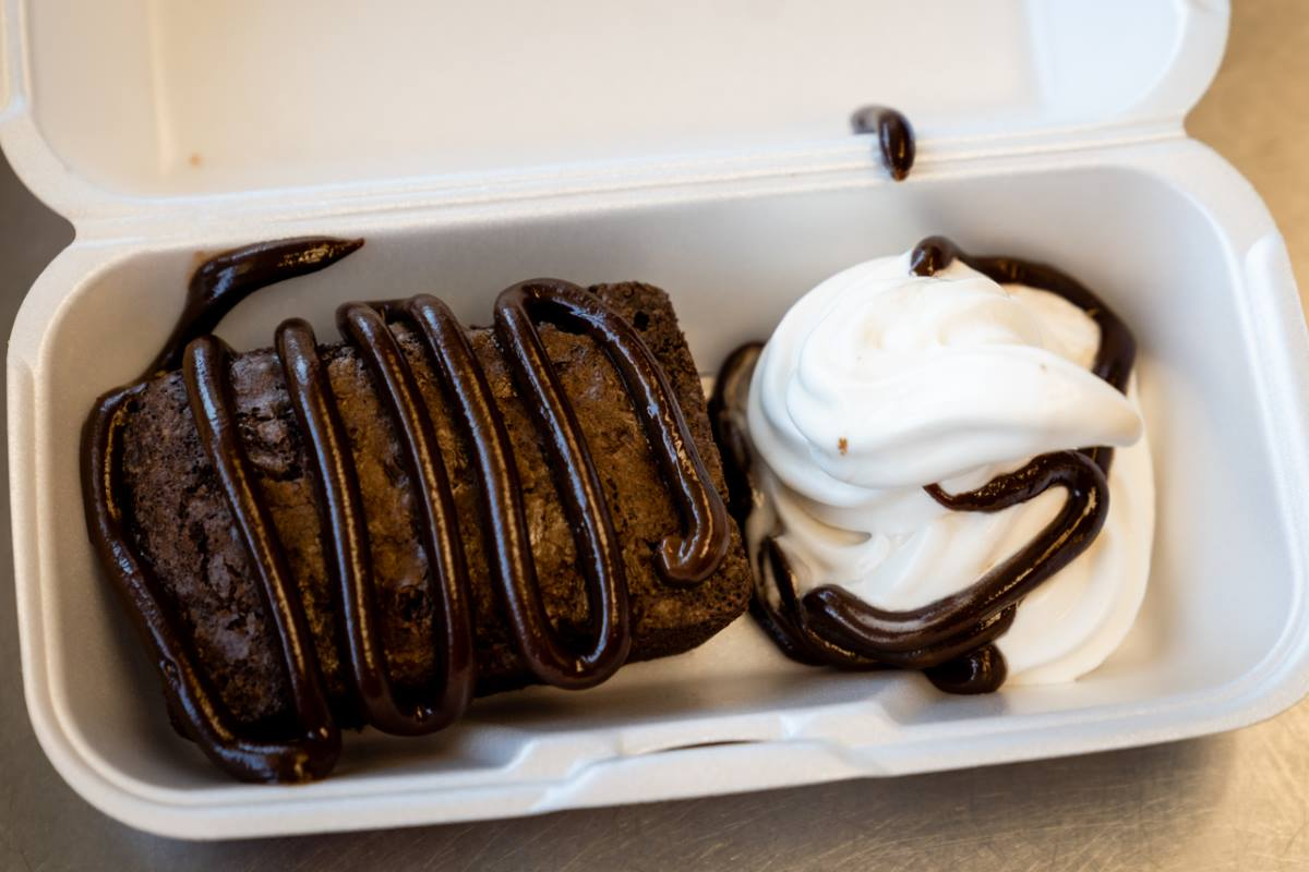 Hot Fudge Brownie Cake: Brownie, Soft Serve, Hot Fudge