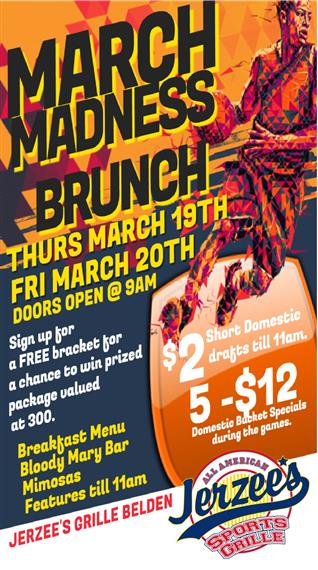 BASKET BALL FLYER MARCH MADNESS BEER SPECIAL OPEN EARLY 9AM