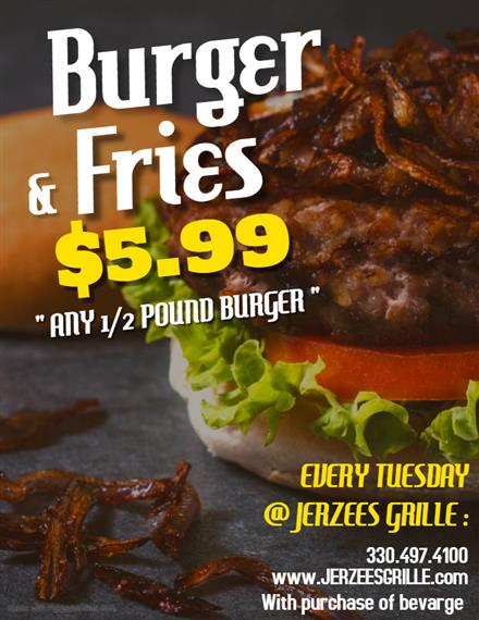 burger photo with specials 5.99