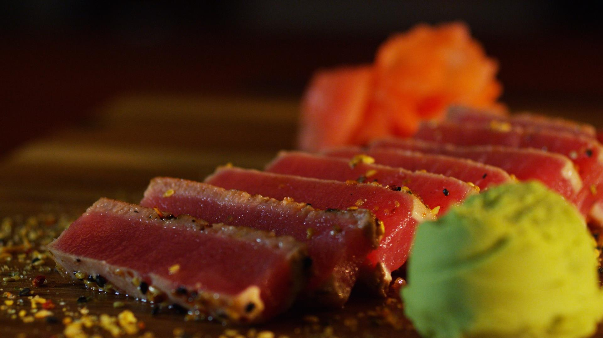 ahi tina with a side of giner and wasabi