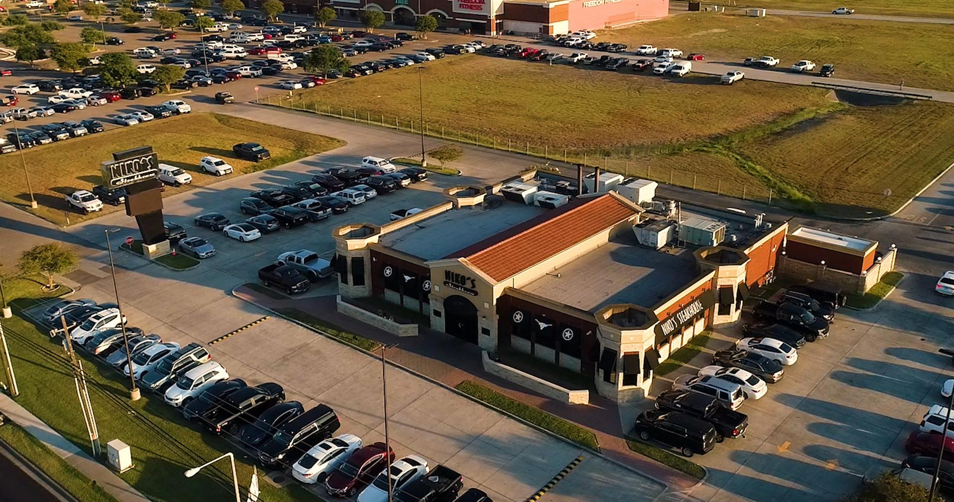 aerial view of the restaurant and parking lots