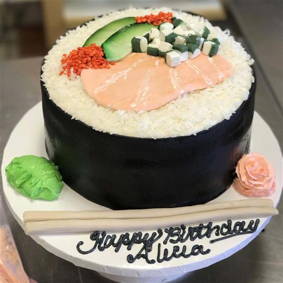 Cake shaped like a sushi roll