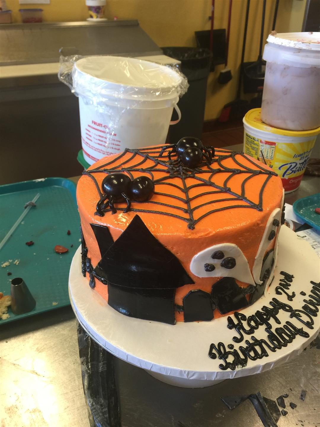 halloween cake with spiderwebs