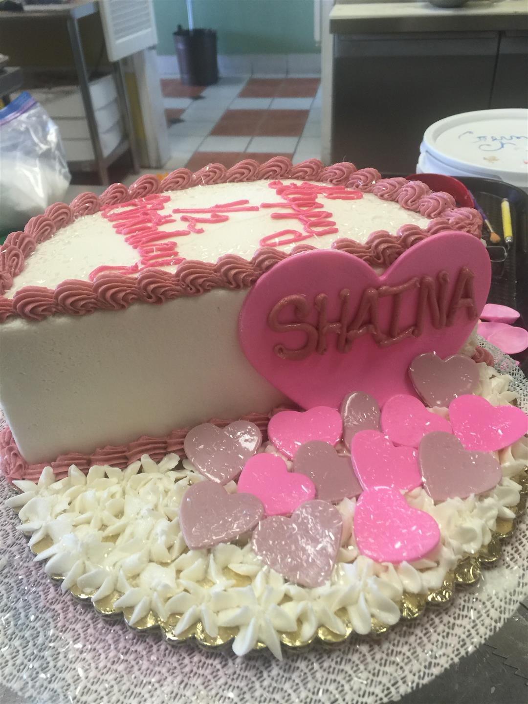 a valentine's day cake with hearts