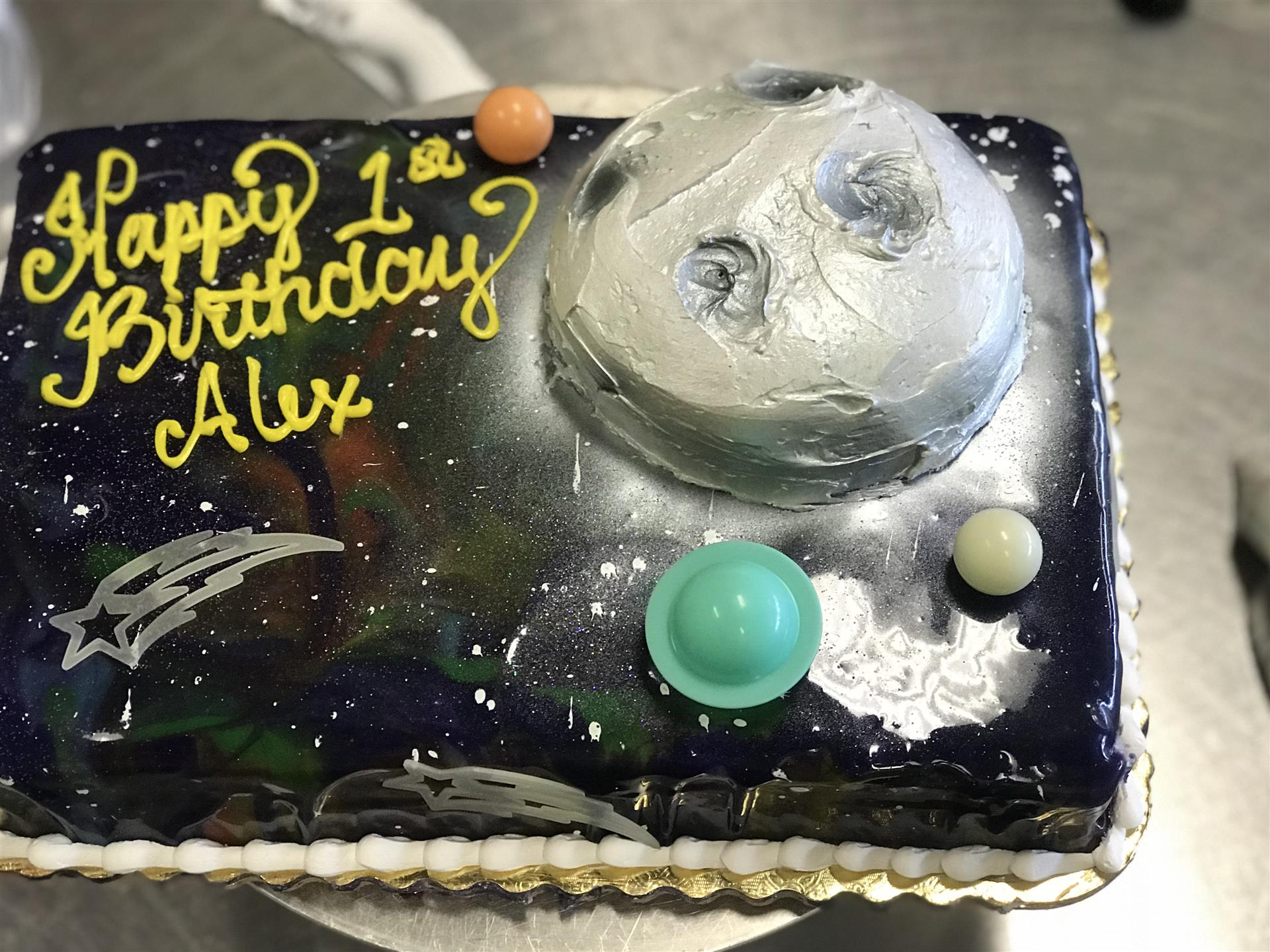 a space themed sheet cake