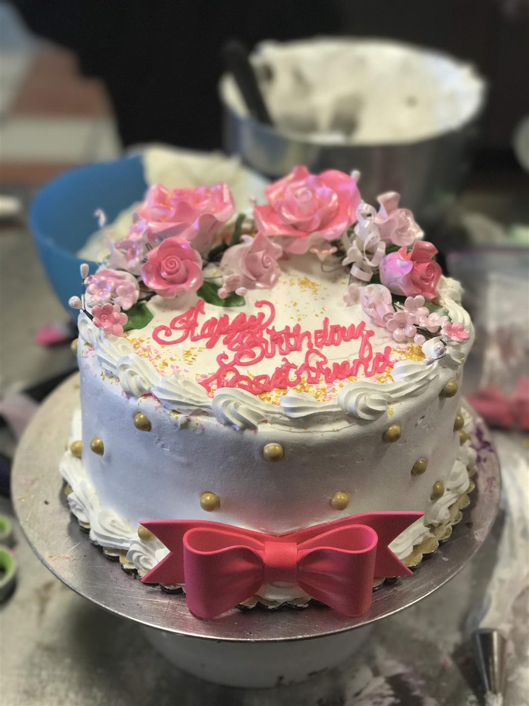Birthday cake with rose petals
