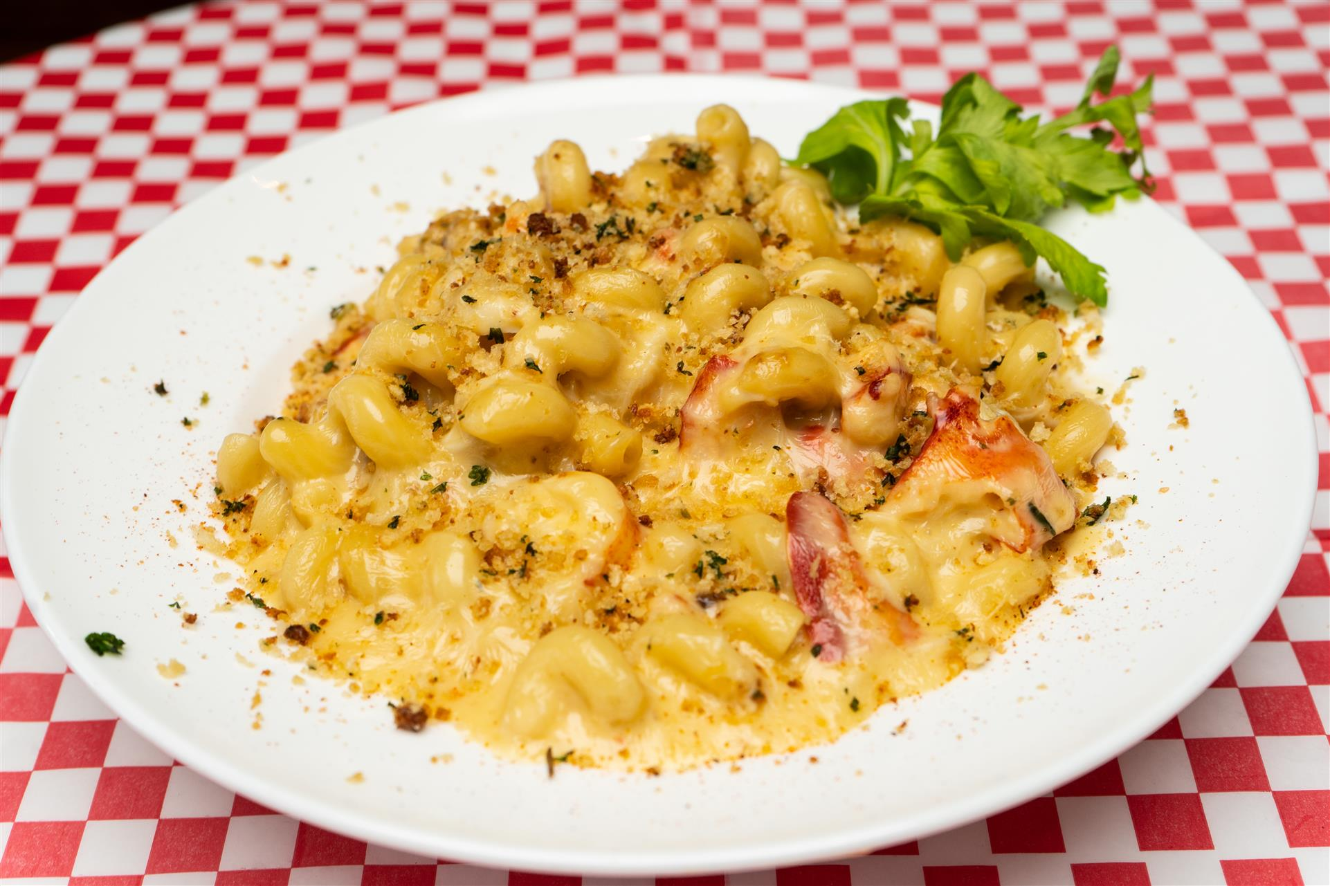 Talladega Mac-N-Cheese. A Southern creamy & smoky, cheesy concoction with cold-water lobster & jumbo crab