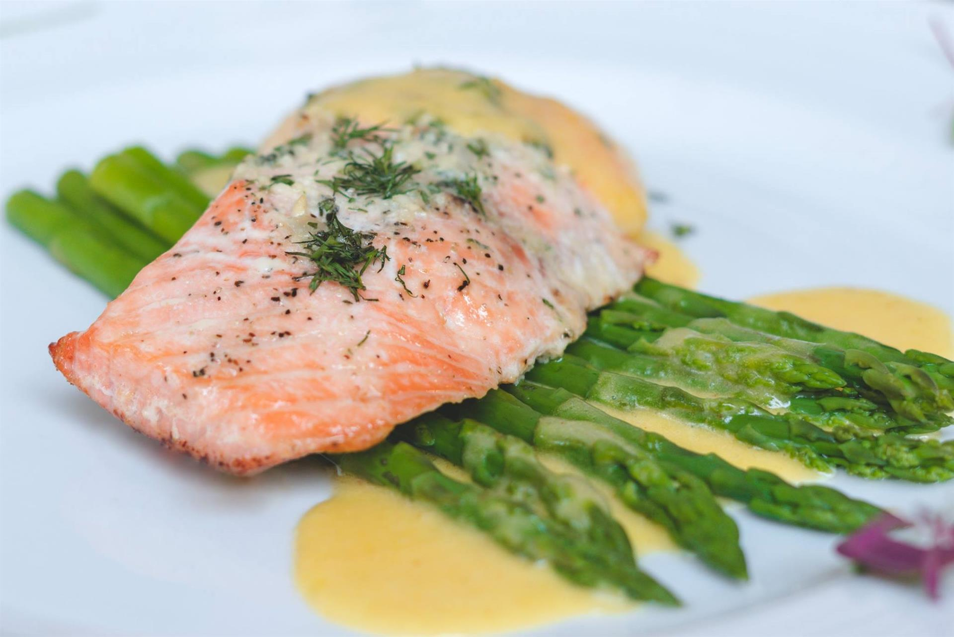 North Atlantic Salmon: Wild caught, cedar plank, maple pecan glaze served with asparagus
