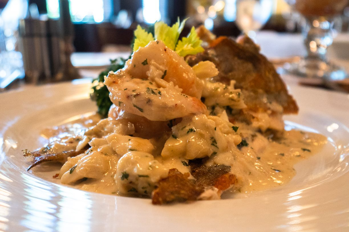 Snapper Monte Carlo: Pan seared, topped with mushroom and leeks, white wine cream sauce