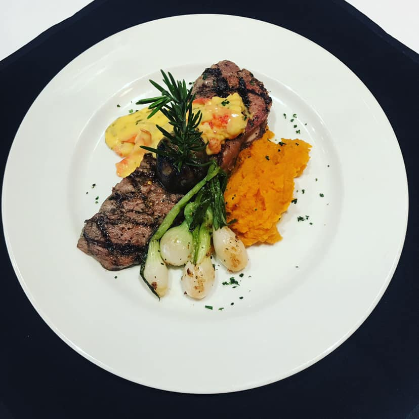 steak with mashed sweet potatoes