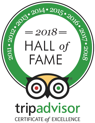 2018 Hall of Fame TripAdvisor certificate of Excellence