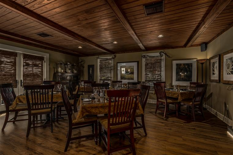 An interior shot of the upstairs dining room.