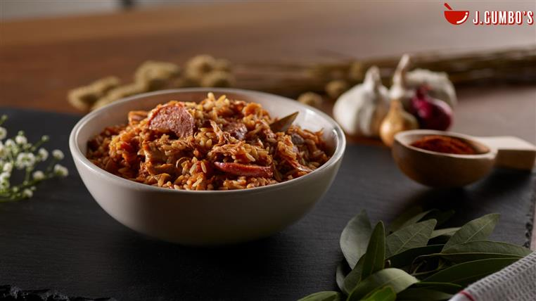 Jambalaya: Traditional Creole-Style Jambalaya With Smoked Sausage, Shredded Chicken, Bell Peppers, Onions And Celery