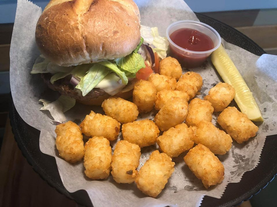 beyond burger with tater tots and ketchup