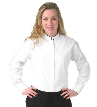 girl in a white collared shirt