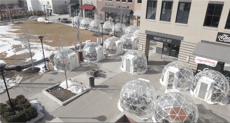 Rows of igloos in a town square