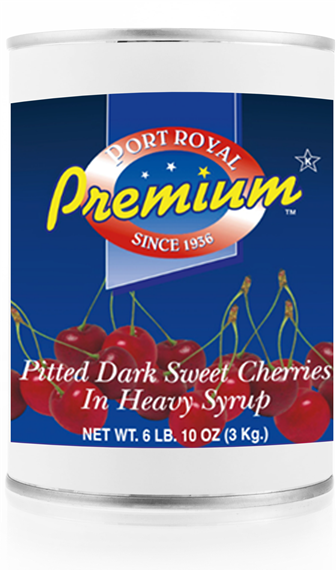 Canned pitted dark sweet cherries in heavy syrup