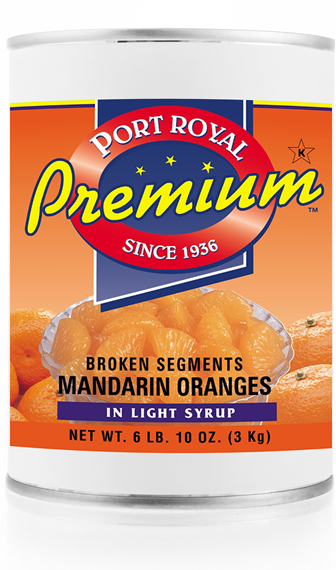 Canned broken segments of mandarin oranges in light syrup