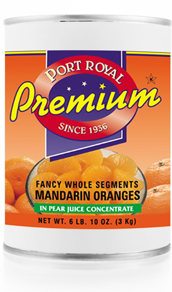 Canned fancy whole segments of mandarin oranges in pear juice concentrate
